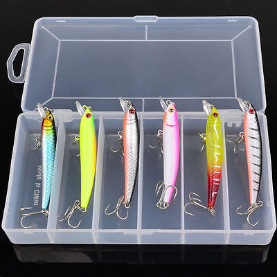 6pcs Lot 7.6cm/4.7g Fishing Lures Minnow With Box Fishing Bait Tackle Crankbait