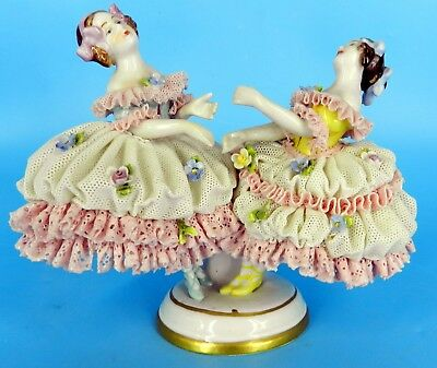 Dresden Volkstedt Figurine German Lace Porcelain Figurine Girls Ballerina Dancer