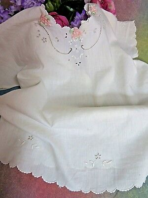 ANTIQUE vintage BABY DOLL dress GOWN shirt BATISTE cotton EMBROIDERY open-work