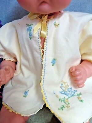 VINTAGE baby DOLL clothes YELLOW cotton fleece JACKET coat EMBROIDERY blue bird