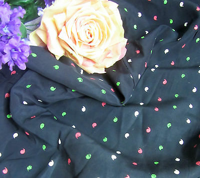 VINTAGE Taffeta FABRIC remnant 1930-40 dress RAYON hp dots QUILTS doll clothes
