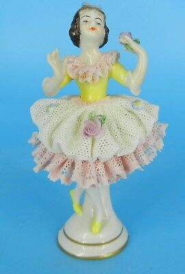 Dresden Volkstedt Figure German Lace Porcelain Figurine Dancer Ballerina 4.25""
