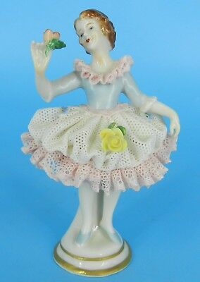 Dresden Volkstedt Figure German Lace Porcelain Figurine Dancer Ballerina 4""