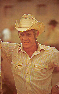 Postcard - Steve McQueen in Cowboy Hat Actor - Vintage Unused A08