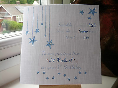 Handmade Personalised 1st Birthday Card Son Grandson Boys 2 3 Twinkle