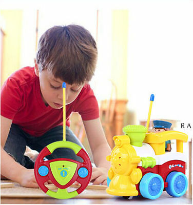 RC Cartoon Train Car Radio Control Toy for Toddlers Kids Babies Gift Present