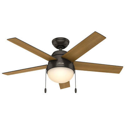 "46"" Premier Bronze 5 Blade Ceiling Fan Tri Mount Contemporary 2 Bowl Light Lamp"