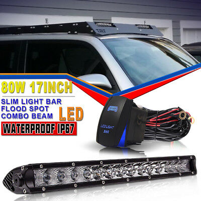 Slim 17inch 80W LED Light Bar Single Row Offroad Roof Light+Wire Harness For SUV