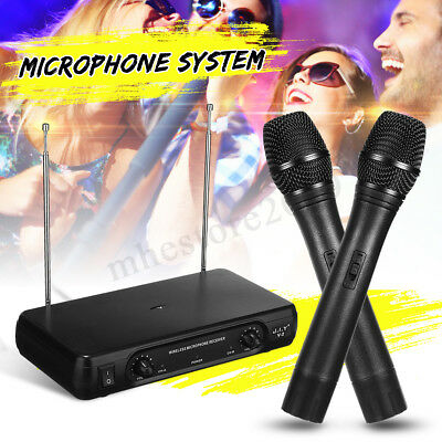 UHF 2Ch Dual Wireless Microphone System Handheld Cordless Mic LCD  new