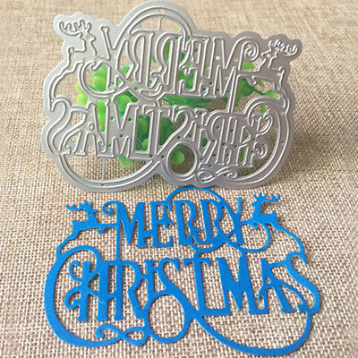 Merry Christmas Cutting Dies for Card Making Cut Die Stencil Template Mould 6A