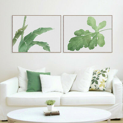 Watercolor Green Leaves Poster Prints Nordic Home Decor Wall Art Canvas Painting
