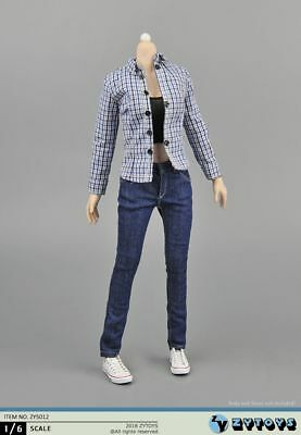 ZYTOYS Female Clothes Set 1/6 scale Blue Jeans& Checker Shirt Costume Accessory