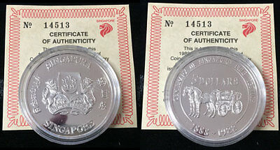 Singapore 5 Dollar Fire Service 92.5% Silver Proof 1988