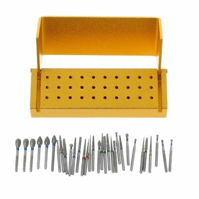 30x Dental Diamond Burs Drill +Disinfection Block High Speed Handpieces Holder