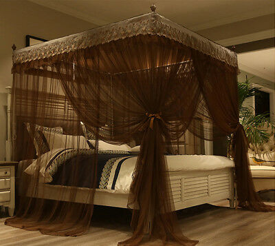 4 Corners Post Bed Canopy Curtain Mosquito Net Or Frame Twin Full Queen King