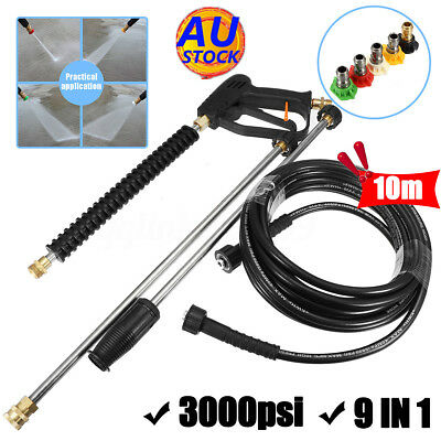 AU 9IN1 3000PSI Pressure Spray Gun Wand Lance+10M Water Washer hose+5 Nozzle Tip