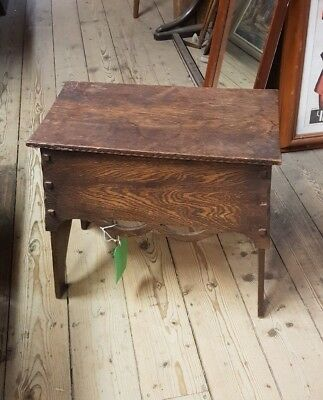 Arts and Crafts Oak Footstool Pierced Carved 19 inch C 1900 Rustic