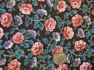 Small Rambling Roses on Black Vintage Cotton Quilt Fabric 1 yard OOP
