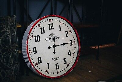 Large Distressed Industrial Metal Wall Clock/Vintage/Decor/Traditional/Red 60cm