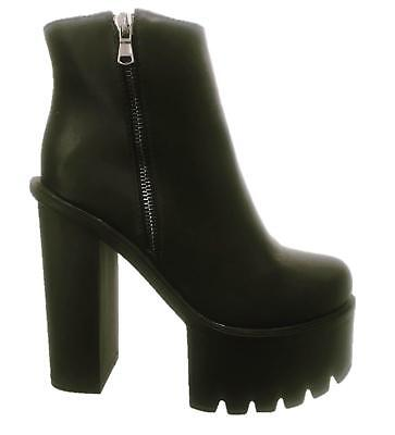 Womens Ladies Zip Up Chunky Block High Heel Platform Winter Ankle Boots Shoes