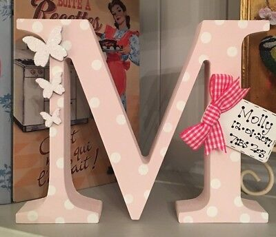 Baby Boy*Girl Shabby Chic Chunky Wood Personalised Letter Freestanding