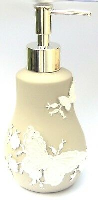 Butterflies and Flowers White & Grey Plaster Pump Action Soap Dispenser