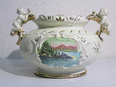 6Th Florentine Large Jar Centerpieces Majolica Angels Cherudini And Painted