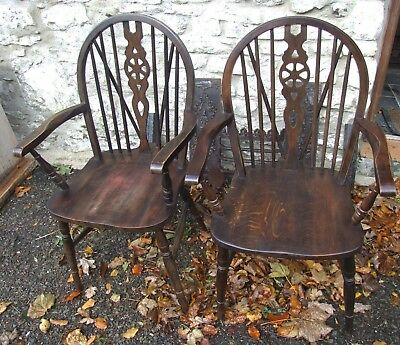 Pair of vintage antique repro oak wheel back CARVER CHAIRS Jaycee Old Charm