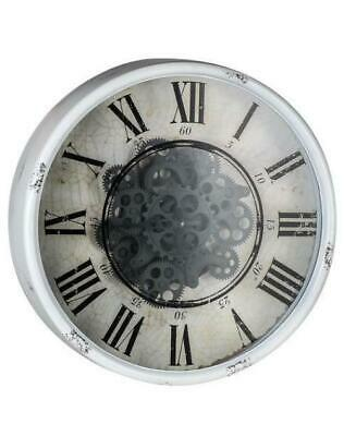 Round Mirror Wall Clock With Moving 3D Mechanism