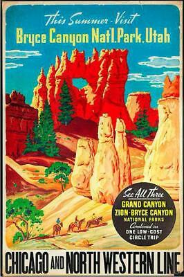 Bryce Canon Utah Railway Travel | Vintage Poster | A1, A2, A3