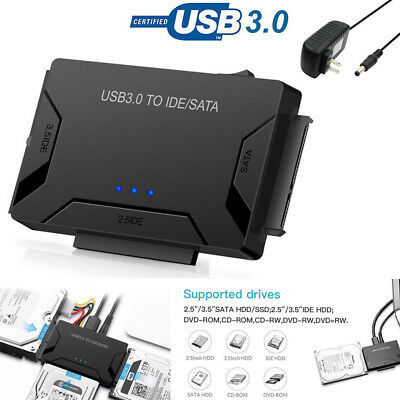 "Hard Drive Universal Adapter Converter USB 3.0 to 2.5""3.5"" SATA/IDE External New"