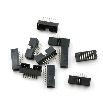 10pcs 2.54mm 2x7 14 Pin Right Angle Male Shrouded PCB IDC Box Header Connector
