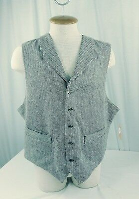 Frontier Classics Gray Herringbone Wool Cattle Baron Vest Mens Steampunk XL