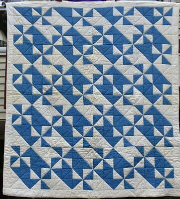 Blue and White Antique Pinwheel Quilt, Very Graphic Variation, #18408