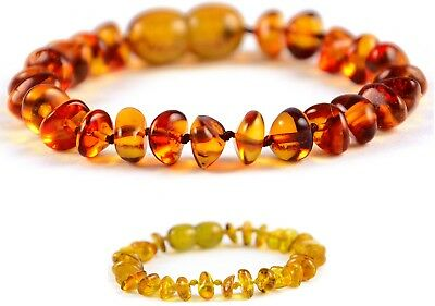 Genuine Amber Teething Anklet Bracelet Chips - EXTENDIBLE LENGHT- Baby & Adult