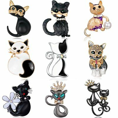 Cat Animal Crystal Rhinestone Pearl Enamel Brooch Pin Women Costume Jewelry Gift