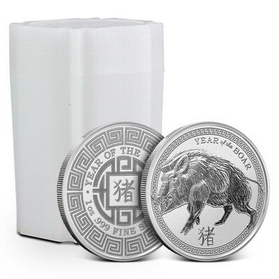 Tube/Lot of 20 - 2019 1 oz .999 Fine Silver Round - Lunar Year of the Boar