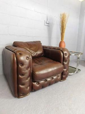 A Large Vintage Leather Art Deco Inspired Aviator Chesterfield Club Chair