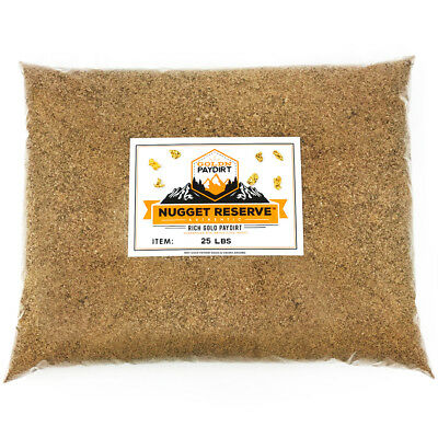 NUGGET RESERVE ELITE 25 LBs Gold Panning Paydirt - Guaranteed Unsearched