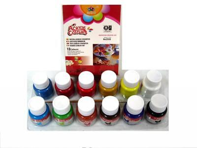 Kit Set 12 Colori Acrilici Pittura 25ml + Pennello dfh