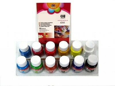Kit Glass Colours Set 12 Colori Pittura Per Vetro 25ml + Pennello dfh