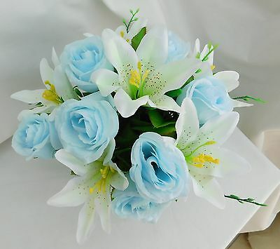 Artificial Silk Grave Flowers Crem Pot Blue And White Memorial