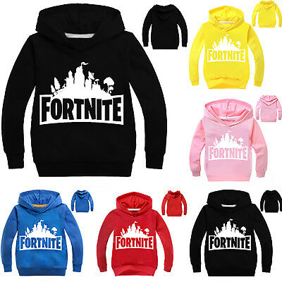 Kinder Jungen Fortnite Kapuzen Pullover Sweatshirt Hoody Winter Oberteil Mode UK