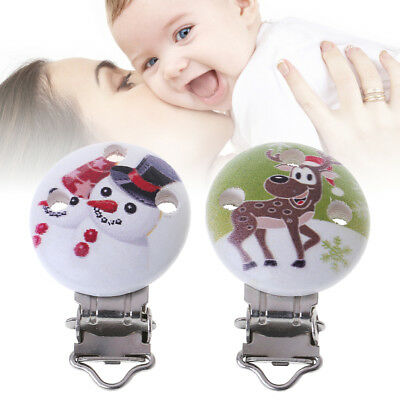 Christmas Pacifier Clip Snowman Baby Soother Nipple Teether Holder Towel Toys