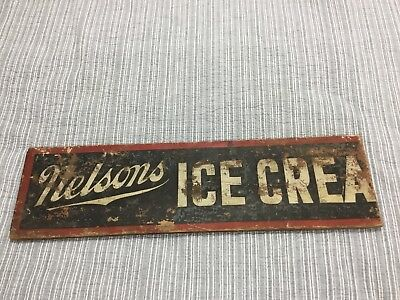 "Antique Vintage Nelson'S Ice Cream Sign Wood Painted 36"" Rare"