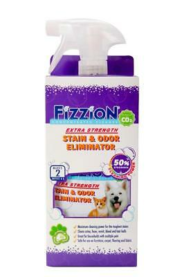 Fizzion EXTRA STRENGTH Pet Stain Odor Remover Dog Cat Urine 4 Tab & 23oz Bottle
