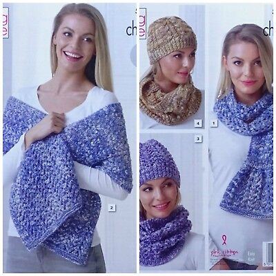 KNITTING PATTERN Ladies Easy Knit Cowls Wrap Scarf and 2 Styles Hat Chunky 5276