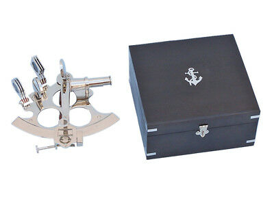 "Chrome Finish Brass Sextant 6"" w/ Black Wooden Case Nautical Tabletop Decor New"