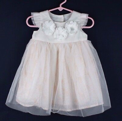 Disney baby toddlers girls party dress polyester white flowers size 9-12 months