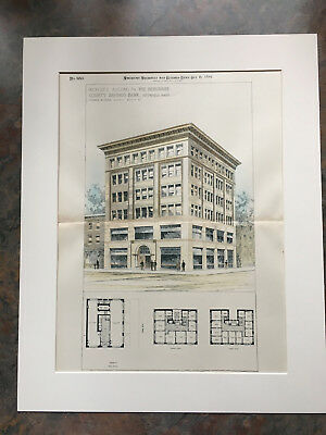 Berkshire County Savings Bank, Pittsfield, MA, 1894, Original Hand Colored